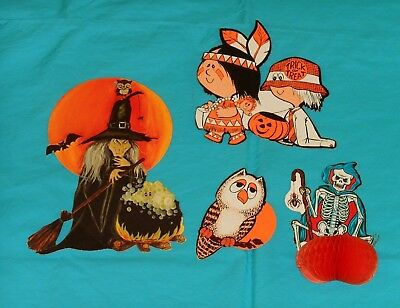 vintage Halloween DECORATIONS lot x4 owl witch skeleton honeycomb kids costumes