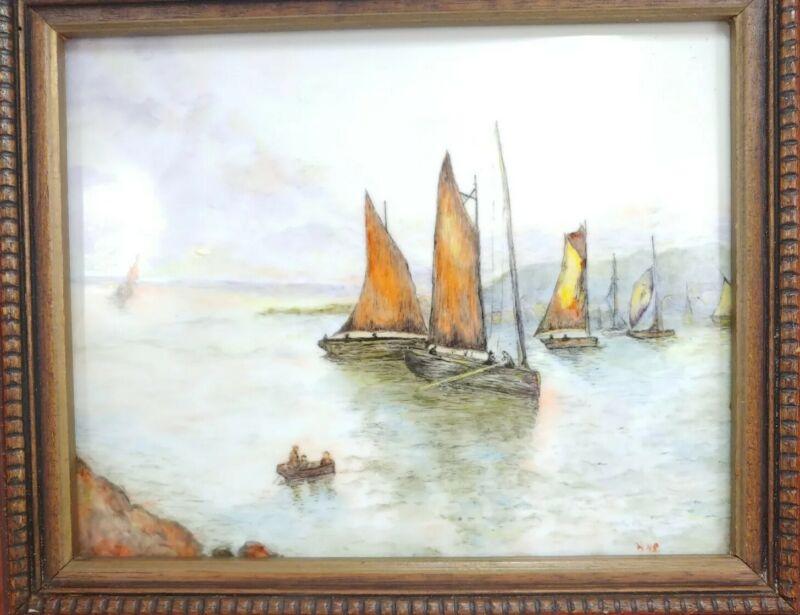 Vintage Framed Porcelain Plaque Tile Painting Sail Boat Ship Port Scenery Signed