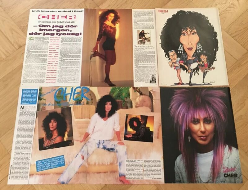 CHER 1986-91 Clippings Poster Swedish Music magazine Okej