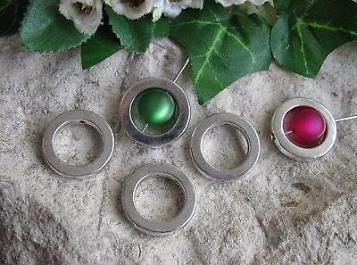10 Metallperlen Perlenrahmen Kreis, silberfarben, 1,95cm, Perlen basteln, Ring (Antike Perle Ring)