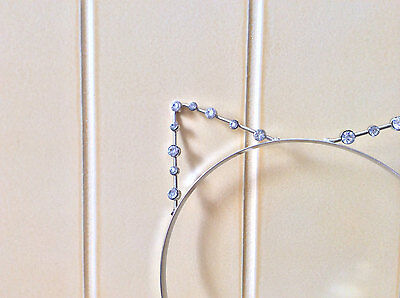 Kitty Cat Ears Headband Silver Cosplay Costume Crystal Tiara Concert Halloween  - Halloween Kitty Cat Ears