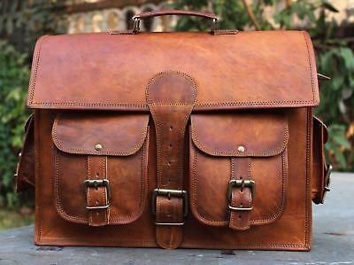 "Mens Goat-Leather 15"" Messenger Bag Two Front Pockets Office College Laptop bag"