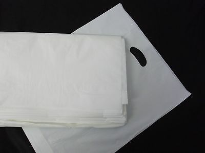 200 xSTRONG WHITE Patch Handle Carrier Bags 15