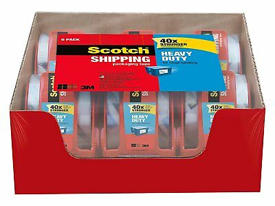 Scotch Heavy Duty Shipping Packing Clear Tape Rolls Dispenser Moving 6 Rolls