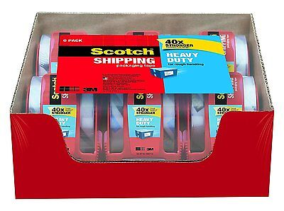 6 Rolls Scotch Clear Shipping Packing Tape 3M 2x1000