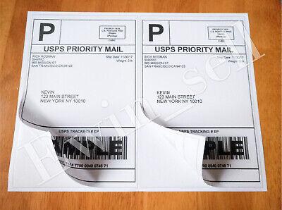 200 20 Half Sheet Shipping Labels 2 Per Sheet 8.5x5.5 Self Adhesive Mailing