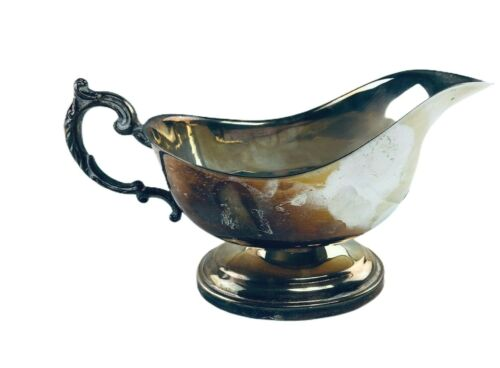 """Vintage SilverPlated Gravy Boat Unmarked 8"""" x 3"""" Ornate Handle"""