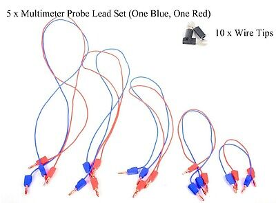 Multimeter Test Lead Probe Wire Cable Sets And Tips 5 Sets 10 Black Tips