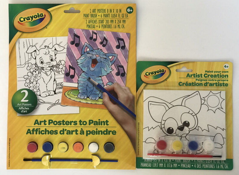 2 Crayola Paint Your Own Art Posters & Artist Creation Set Paints & Brushes Kids