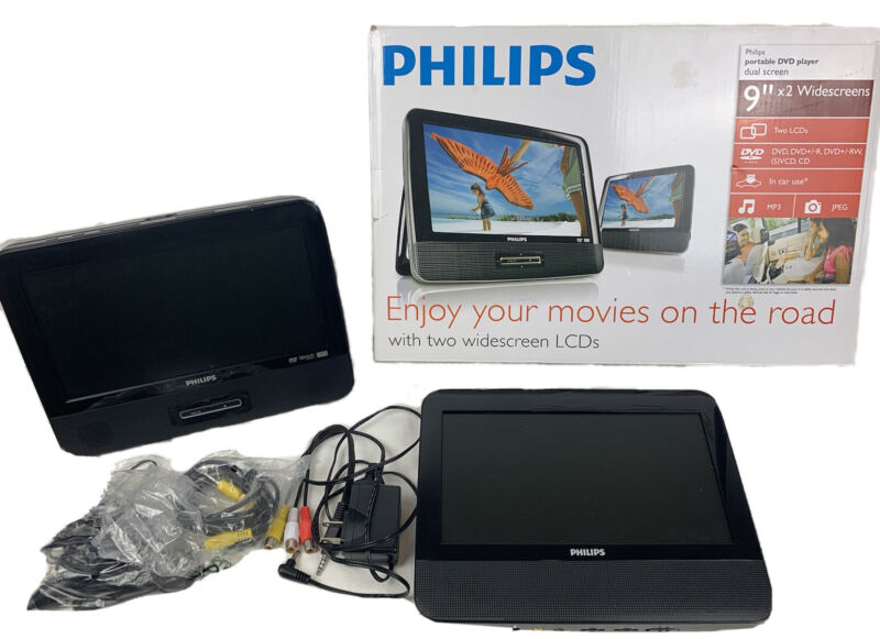 """Philips Dual Screen Portable DVD Player 9"""" Widescreen LCD x2 PD9012/17"""