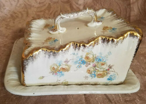 Antique Hand Painted Cheese Plate with Lid, Floral Design - Unsigned (1880-1910)