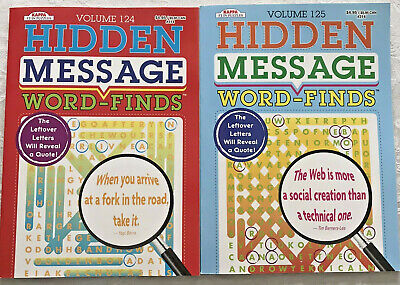 2 Puzzle Books Word Finds Hidden Message Game Search Vol 124 125 Full Size