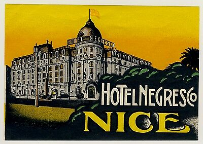 Hotel Negresco NICE NIZZA France * Old Luggage Label Kofferaufkleber