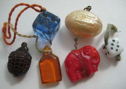 ANTIQUE Vtg Czech Glass ELEPHANT~DICE~TURTLE~FOOTBALL Charms~Cracker Jack~LOT