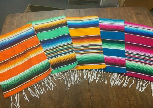 """1 PIECE SARAPE RUNNER MEXICAN BLANKET, SALTILLO 81"""" x 14"""" , ASSORTED COLORS NEW"""