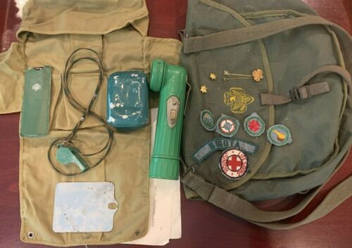 Vntg Girl Scout Whistle BS Signal Mirror Camping Gear Badges Flashlight Soap MIX
