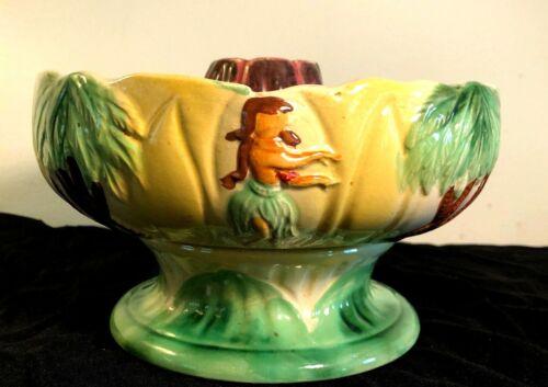 Vintage Orchids of Hawaii Volcano Scorpion Bowl Tiki Hula Girl R-94