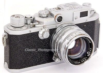 RARE! CANON IIs 35mm Rangefinder Camera made in 1955 + Canon Lens 1.8/50mm Lens