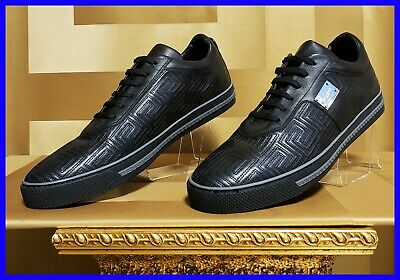 NEW VERSACE COUTURE BLACK LEATHER SNEAKERS with GREEK PATTERN 41.5 - 8.5