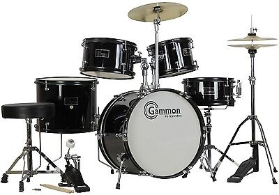 New Black Drum Set 5 Piece Junior Complete Child Kids Kit with Stool Sticks on Rummage
