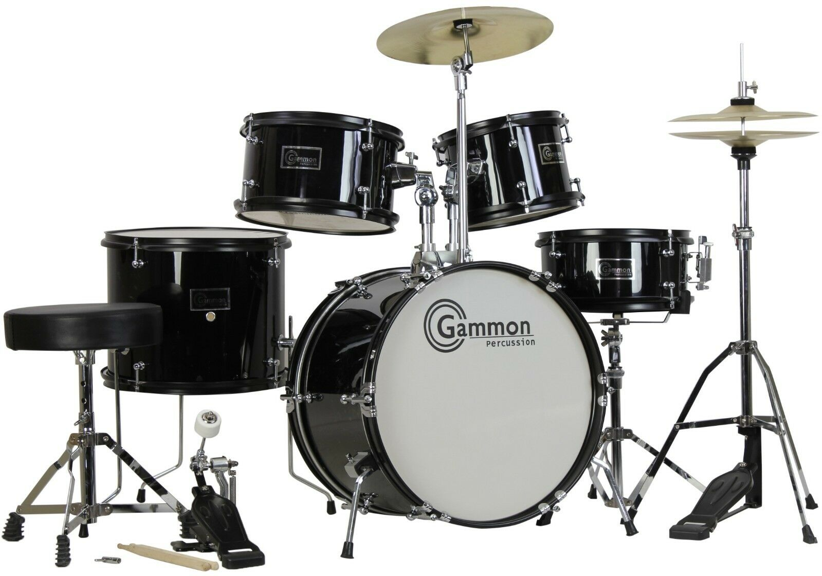 New Black Drum Set 5 Piece Junior Complete Child Kids Kit With Stool Sticks - $829.77