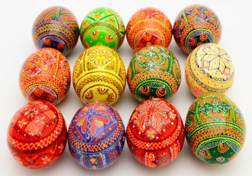 12 Wooden Ukrainian Pysanky Pysanka Easter Painted Eggs Handmade