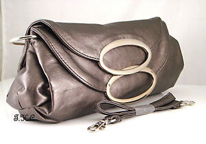 FRENCH CHIC 40-50s KITSCH VEGAN EAMES VERY SOFT PEWTER BRONZE WAG HANDBAG CLUTCH