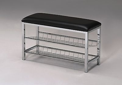 Legacy Decor Metal Two Tier Shoe Rack Bench With Black Bo...