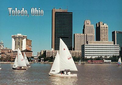 Sail Boats Downtown Toledo Ohio, Maumee River, Buildings, etc. OH --- Postcard