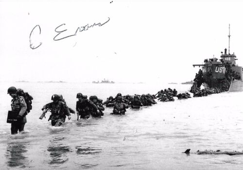 Clarence Evans auto/signed WW II D-Day Legion of Honor Rare COA LOOK!