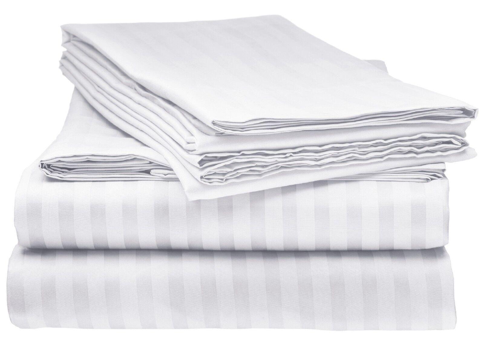 BAMBOO 1800 DEEP POCKET STRIPED BED SHEET SETS HYPOALLERGENI