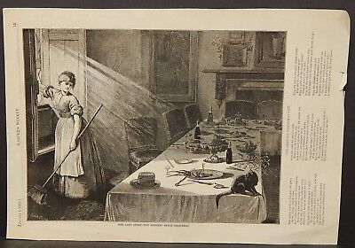 Harper's Weekly The Last Guest - The Morning After Christmas Sketch 1876 !A17#73 ()