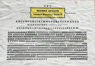 New Letterpress Type - 12 Point Modern Antique