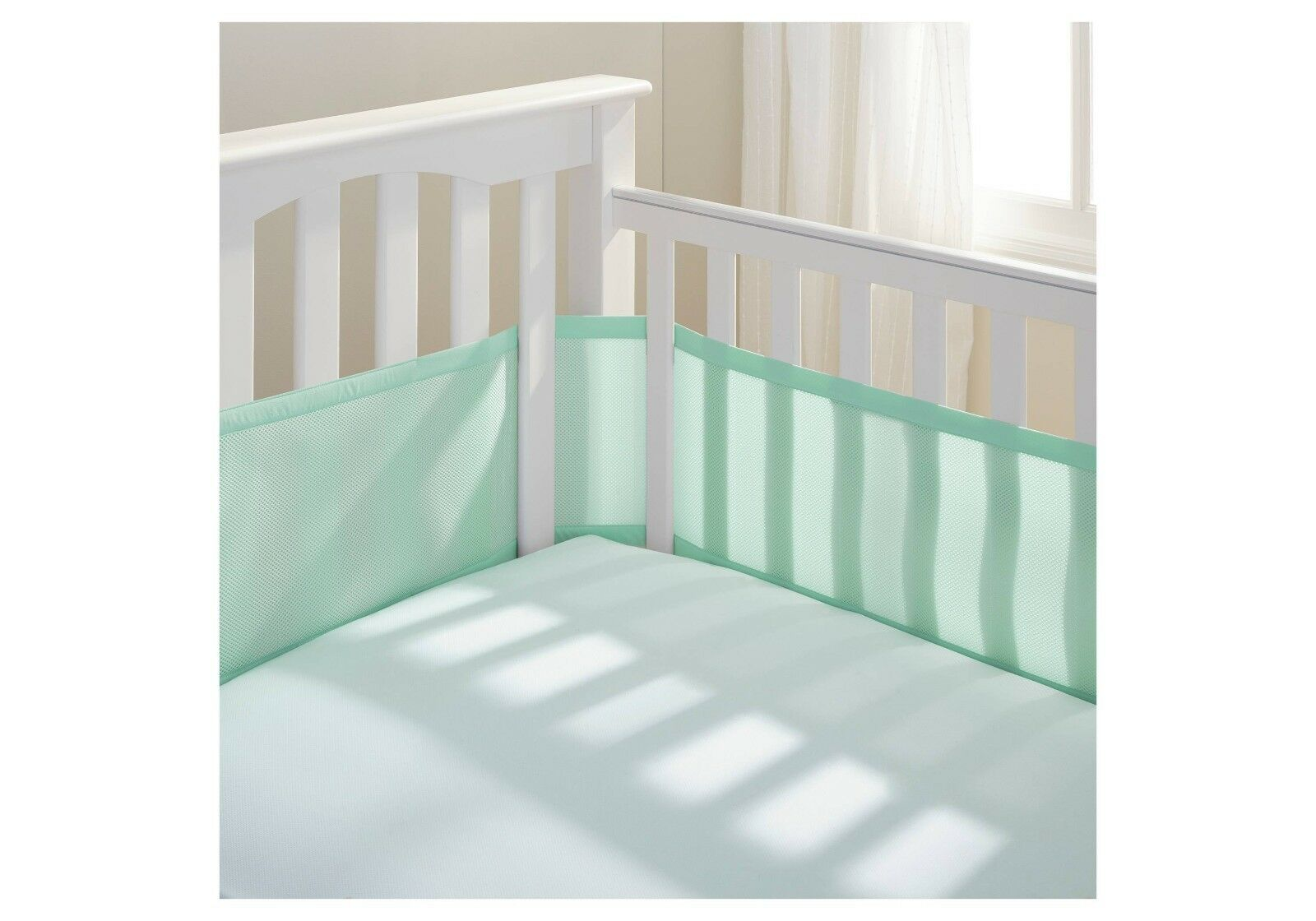 NEW Breathable Baby Mesh Crib Liner Mint Green Nursery Beddi