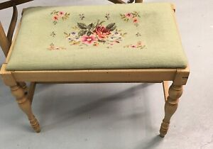 Vintage Needlepoint Foot Stool Bench T Eatons