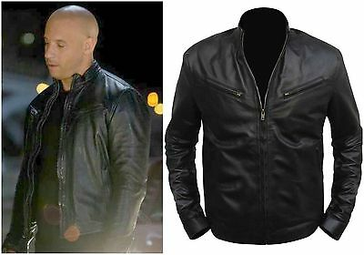 Fast and Furious 6 Dominic Toretto Vin Diesel Black Leather Jacket