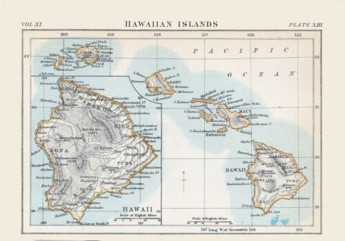 HAWAIIAN ISLANDS 1878 Color Map BEFORE ANNEXATION
