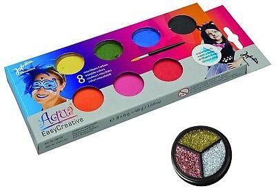 Kinder Schminke Aqua Farbe Jofrika Set 8 Farben + Glitzer Rosa Theaterschminke