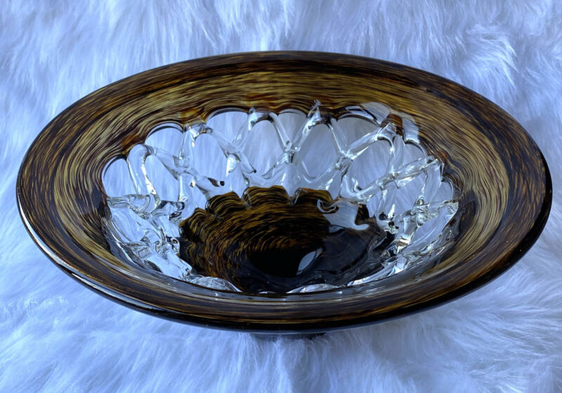 "Brown copper clear Art Glass Large Centerpiece Bowl, 15"" Widest, 6"" High"