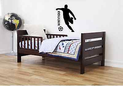 Soccer vinyl wall decal sticker decor sports boys  girls room quote art players ](Sports Room Decor)