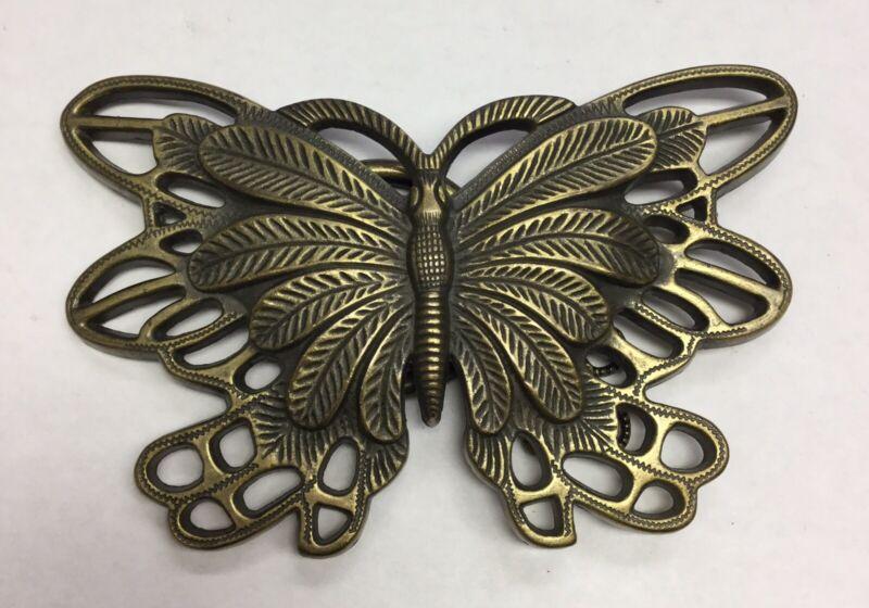 """BUTTERFLY Solid Brass Belt Buckle  1 1/2"""" Belt Loop"""