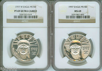 Click now to see the BUY IT NOW Price! 1997-P & 1997-W $100 PLATINUM EAGLE STATUE LIBERTY NGC MS69 PF69 PR69 2-COIN SET