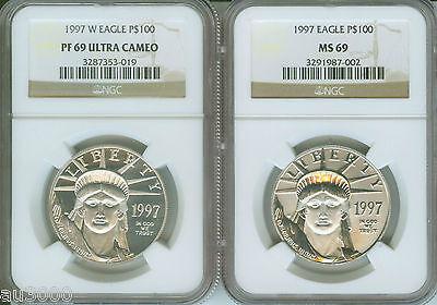 Platinum Ngc Coin Set - 1997-P & 1997-W $100 PLATINUM EAGLE STATUE LIBERTY NGC MS69 PF69 PR69 2-COIN SET