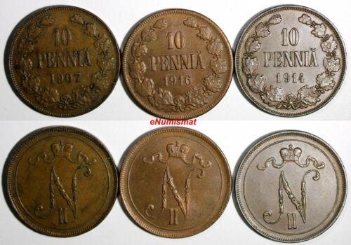 Finland Nicholas II Copper LOT OF 3 Coins 1907-1916 10 Pennia KM# 14