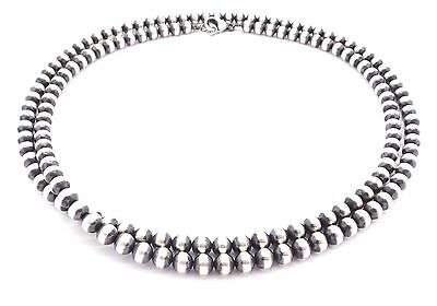 """36"""" Navajo Pearls Sterling Silver 6mm Beads Necklace"""