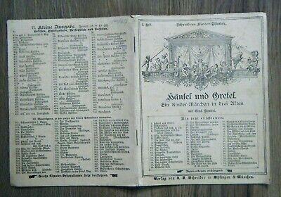 Schreibers Kinder-Theater 1. Heft Hänsel und Gretel Märchen Grimm um 1890