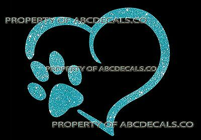 VRS Heart Outline Paw Dog Puppy Canine Adoption Print CAR DECAL METAL STICKER