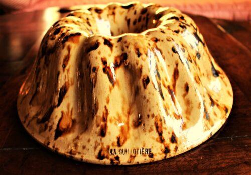 19th c. French Stoneware Cake Mold Marked LA GUILLOTIERE c. 1850