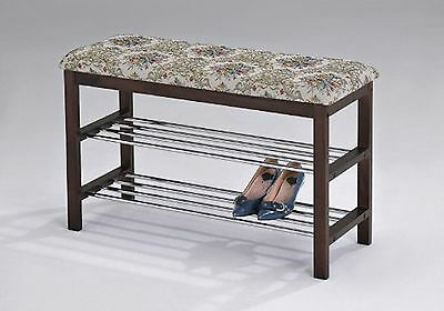 Walnut Wood Shoe Bench with Two Metal Racks & Fabric Floral Design Seat Cushion