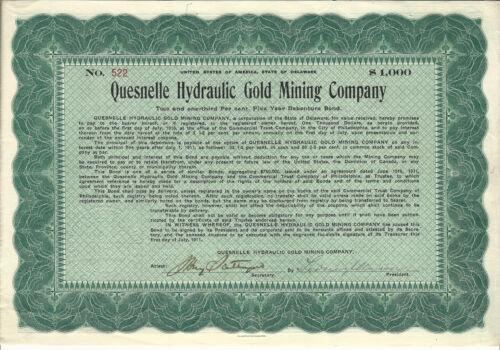 1911 CANADA Quesnelle Hydraulic Gold Mining Co Bond Stock Certificate Cariboo